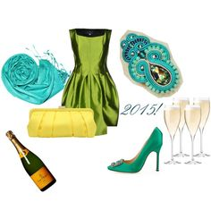 new year's eve by galeriamagia on Polyvore featuring moda, Marconi, Manolo Blahnik, Nina, Zero Zero and Riedel