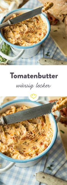 Ab auf die Stulle: Würzige Tomatenbutter You can really smear this butter on bread! With dried tomatoes, rosemary and a bit of fiery chili, this tomato butter unfolds a delicious aroma that hardly anyone can resist. Brunch Recipes, Snack Recipes, Healthy Recipes, Bread Recipes, Breakfast Party, Grilling Recipes, Cooking Recipes, Dried Tomatoes, Pesto