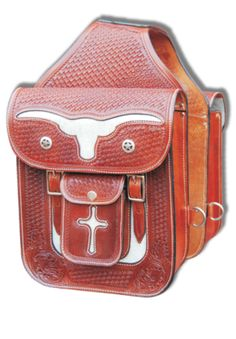 Longhorn Leather Saddle Bag $229.95 Leather Saddle Bags, Tooled Leather, Leather Tooling, Cowboys And Indians, Bike Bag, Horse Tack, Saddles, Leather Craft, Equestrian