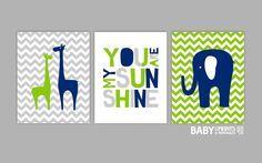 tiddliwinks blue green lamp   Navy Lime green Grey Nursery art prints Set of 3 by babyartprints, $51 ...