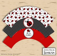 Ladybug Cupcake Wrappers Party Printable Red Black Polka Dot Baby SHower DIY INSTANT DOWNLOAD LB01 by JannaSalakDesigns on Etsy