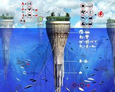 "Water-Scraper The creators of the Water-Scraper believe that the effects of climate change mean it's ""only a natural progression that we will populate the seas someday,"" so they designed this livable, sustainable structure for humans to occupy. The Water-Scraper uses wave, wind and solar power, and its bioluminescent tentacles provide sea fauna a place to live while collecting energy through kinetic movements. This floating structure even generates its own food through farming, aquaculture an..."