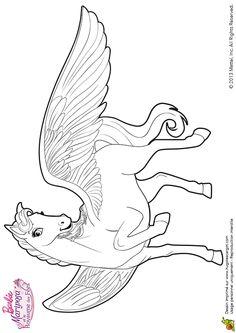 Magnifique image à colorier de Sylvie, le cheval ailé de Barbie.