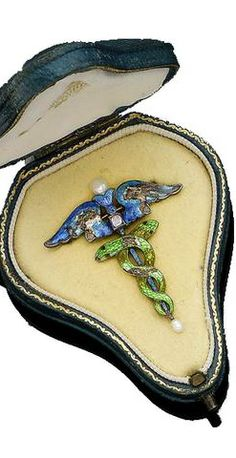 Two enamel caduceus brooches and two enamel pendants, by Child & Child, circa 1900