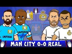 Man City 0 Real Madrid 0 gets the cartoon treatment by (Video) Manchester City, Real Madrid, Goals, Cartoon, Sports, Fictional Characters, Hs Sports, Cartoons, Fantasy Characters