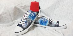 Doctor Who Custom Converse / Dr Who Converse / DW & Tardis / Painted Shoes With Fez