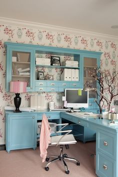 lovely love this desk set up with mounted wall storage!