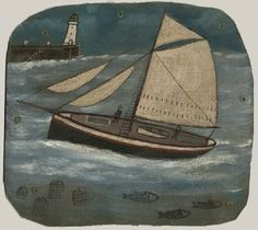 Ship by Alfred Wallis. St Ives primitive painter (Born in Plymouth, his work heavily influenced that of Ben Nicholson and Christopher Wood when they discovered it). Alfred Wallace, House By The Sea, Art Brut, St Ives, Naive Art, Wallis, Outsider Art, Les Oeuvres, Framed Art