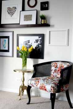 guestroom revamp - gallery wall - picture ledge - gold foil journal turned art - reupholstered cane chair - This is our Bliss