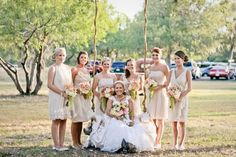 Casual neutral wedding with fun short mix-and-match bridesmaid dresses. Shop amazing mix-and-match bridesmaid dresses on Brideside.com