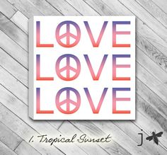 Love Peace Design with sunset gradient - Mounted Canvas Wall Art