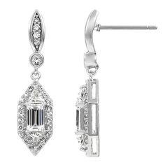 Women .50 Carat #Emerald-Cut Accents #Drop #Dangle #DangleEarrings Silver tone CZ .25 Each  #Earrings #ChandelierEarrings #Jewelry