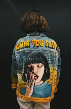 Painted Denim Jacket, Painted Jeans, Painted Clothes, Custom Clothes, Diy Clothes, Outfits Jeans, Banana Art, Denim Art, Costume Collection