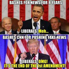 "Fox news clearly takes a side though?? While Trump said ""any news that goes against me is false""?? How are the two even remotely similar???"