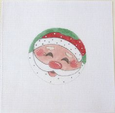 Sweet Santa Face Handpainted Needlepoint Canvas by MarsyesNPCanvas
