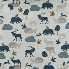 Bomull mint abstrakt blå frg ville dyr Forest Friends, Mint, Kids Rugs, Fabric, Home Decor, Wild Animals, Weaving, Abstract, Cotton