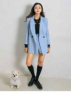 Today's Hot Pick :Coat And Shorts Set http://fashionstylep.com/SFSELFAA0006893/yubsshopen/out Looking for a smart and sharp ensemble? Then these denim inspired set are perfect for you! With a thigh length coat, double breasted style, convertible collar with patch pockets and long sleeves. And partnered with a matching high waist button and zipper fly shorts. -Two-piece set -Coat