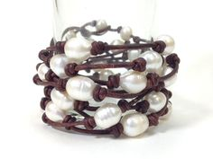 Natural Leather and Pearl 8 Wrap Bracelet or a by AdiDesigns