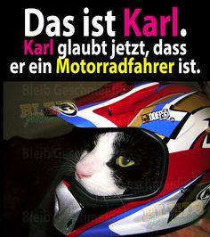 Das ist Karl. Karl glaubt jetzt, dass er ein Motorradfahrer ist.