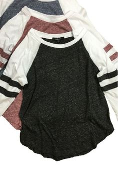 Look super cute at any game with this sleeve baseball tee in a soft mixed cotton fabric. Available in 4 colors! Mode Outfits, Fall Outfits, Casual Outfits, Summer Outfits, Fashion Outfits, Womens Fashion, Casual Shirts, Cute Shirts, Cute Tops