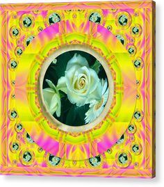 Acrylic Print featuring the mixed media Roses In Rainbows Make Us Happy by Pepita Selles