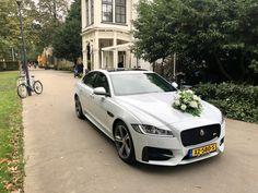 Onze Jaguar XF R-Sport trouwauto bijj Dudok in het Park in Rotterdam.