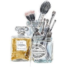 Chanel no. 5 Perfume and Makeup Brushes Original Illustration Art... (£15) ❤ liked on Polyvore featuring beauty products and makeup