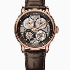 Arnold & Son's Constant Force Tourbillon rose gold on brown leather strap. Elegant piece  #arnoldandson #constantforce #tourbillon #wristwatch #dailywristwatch #luxurywatch #wristwatchlover #timepiece by wristwatchlover