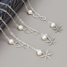 Silver Snowflake Necklace SET OF 5 10% OFF by MyDistinctDesigns