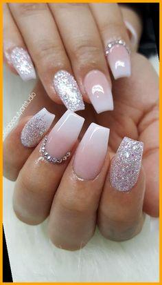 Nail Design Glitter, Glitter Nail Art, Nails Design, Nude Nails With Glitter, Blush Nails, Glitter Accent Nails, Trendy Nails, Cute Nails, My Nails