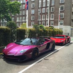 Lamborghini Aventador Super Veloce Roadster painted in Viola Ophelia and a Language Aventador Super Veloce Coupe painted in Rosso Bia  Photo taken by: @corentin.spot on Instagram (@the_luxurious_cars on Instagram, His father is the owner of the Aventador SV Roadster and @mirpatel_ on Instagram is the owner of the Aventador SV Coupe)