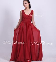 MY PROM DRESS IN RED! A Line Straps V Neck Floor Length Chiffon Wine Red by MissDressesy