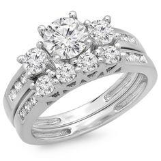 This lovely diamond engagement ring set features 1.80 ct white diamonds in 3-stone setting. All diamonds are sparkling and 100 natural. All our products with FREE gift box and 100 Satisfaction guarantee. SKU # OSK2534-14KW