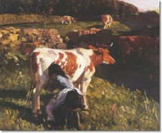 Alfred J Munnings - Alfred #Munnings - Milking In The Evening Painting