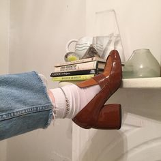 Ah yes, the timeless Parisian style of the clunkiest clunk heel loafer pumps paired with long white socks and unhemmed cut off jeans. Obviously you model the look on your cluttered mantelpiece. Dr Shoes, Sock Shoes, Me Too Shoes, Aesthetic Shoes, Aesthetic Clothes, Aesthetic Grunge, Pretty Shoes, Cute Shoes, Fashion Shoes