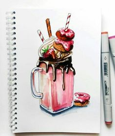 Marker + colored pencil instruction on vanilla arts - markers in art journa Art Drawings Sketches Simple, Pencil Art Drawings, Realistic Drawings, Colorful Drawings, Cute Drawings, Copic Marker Art, Marker Kunst, Food Painting, Arte Sketchbook