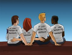 "[Image: Bucky Barnes, Natasha Romanoff, Steve Rogers, and Sam Wilson sitting with their backs to the viewer; Bucky, Steve, and Sam are wearing shirts that say ""if lost return to Natasha"" and Natasha is wearing a shirt that says ""I am Natasha.""]thewintertrash:this ot4 is very important to me honestly i was just planning on doing this with steve and bucky but then i was like ""let's be serious they would both get lost and sam would be dragged along somehow and natasha ..."