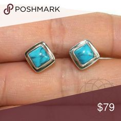 NEW Silverstone Turquoise SS Stud Earrings NEW Silverstone Handcrafted Genuine Turquoise Sterling Silver Stud Earrings  ▪ These lovely earrings are one of a kind & uniquely made  ▪ 925 Sterling Silver  ▪ Measures: 10 mm x 10 mm  🍁 Handcrafted in Canada  ⚠ All measurements are approximate  💥 Brand New w/o tag. Original Box  ✋ All Sales Final | 🚫 Trades or Holds Silvertone  Jewelry Earrings