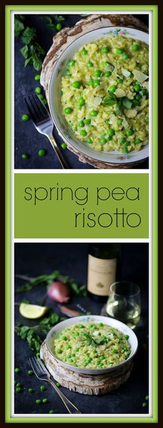 This vibrant pea risotto is a creamy bowl of spring goodness!