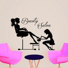 Wall Decal Beauty Salon Hair Salon Fashion Girl Woman by CozyDecal Home Nail Salon, Nail Salon Design, Hair And Nail Salon, Nail Salon Decor, Beauty Salon Decor, Beauty Salon Design, Salon Decorating, Decorating Ideas, Hair Color Purple