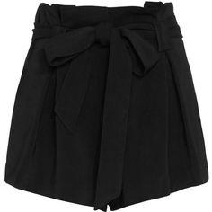 L'Agence Alex Paperbag Waist Shorts: Black (€260) ❤ liked on Polyvore featuring shorts, black, paperbag shorts, rayon shorts, pocket shorts, tailored shorts and zipper pocket shorts