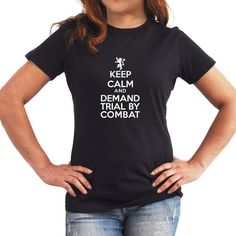Keep Calm and Demand Trial by Combat Women T-Shirt ($17) ❤ liked on Polyvore featuring tops, t-shirts, black, women's clothing, print t shirts, pattern tops, print tee, pattern t shirt and print tops