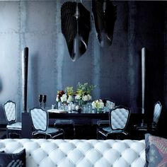 """Avia designed by Zaha Hadid for #Slamp lights up the latest creation of BAM Design Lab at The Ritz-Carlton Residences where Gothic meets Glam.   """"Decorative Italian light fixtures fall like sculptures in this dark but elegant dining room"""". More: http://www.bamdesignlab.com/gothic-glam-loft/"""