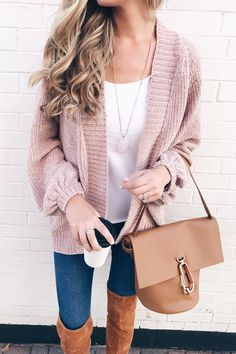 pink Fall sweaters - pinterestingplans in Fall outfit with pink chenille cardigan