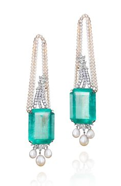 Emeralds, pearls, diamonds in 18K white gold earrings, Farah Khan Fine Jewellery