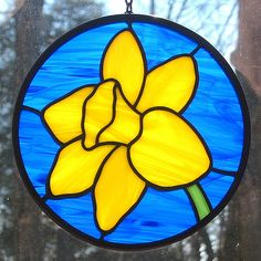Sunny Yellow Daffodil Stained Glass Suncatcher