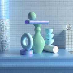 Shibuza Compositions on Behance Abstract Shapes, Geometric Shapes, Baby Blue Wallpaper, 3d Cinema, Composition, 3d Poster, Behance, Memphis Design, 3d Artwork