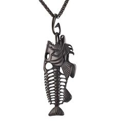 Fish Bone Pendant Necklaces With Fishing Hook