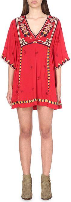 FREE PEOPLE Tulum embroidered smock dress