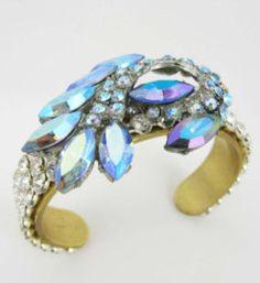 """Something blue"" rhinestone cuff Bridal Jewellery, Jewelry, Something Blue, Rings, Floral, Jewellery Making, Jewels, Jewlery, Ring"